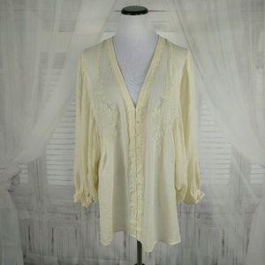 Joie Bishop Sleeve Embroidered Sheer Boho Top